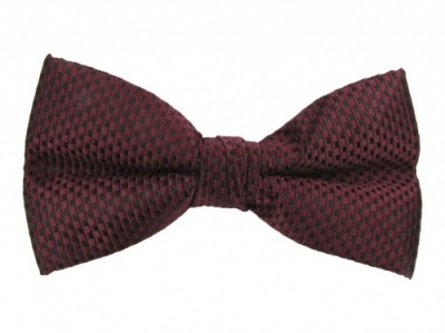 Burgundy Bow Tie with Check Design